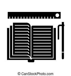 ilustracja, -, książka, odizolowany, znak, wektor, czarne...