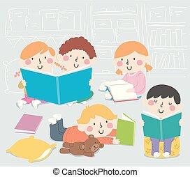 ilustracja, książka, róg, klasa, dzieciaki