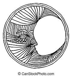 ilustracja, księżyc