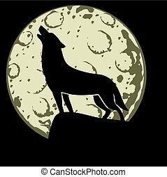 ilustracja, księżyc, wycie, wektor, wilk, przód