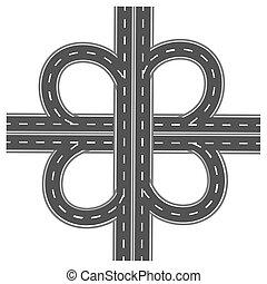 ilustracja, markings., szosa, biały, interchange., droga