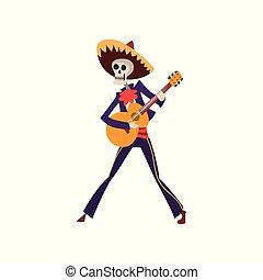 ilustracja, meksykanin, szkielet, gitara, od, muertos, zmarły, dia, tradycyjny, wektor, śpiew, tło, taniec, biały, interpretacja, dzień, kostium