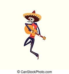 ilustracja, meksykanin, szkielet, gitara, od, muertos, zmarły, dia, tradycyjny, wektor, kostium, tło, taniec, biały, interpretacja, śpiew, dzień, kapelusz