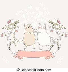 ilustracja, miłość, dwa, cats.