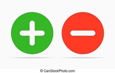 ilustracja, minus, wektor, plus, icons., okrągły