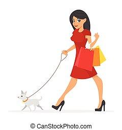 ilustracja, od, ładny, kobieta, z, jej, dog.