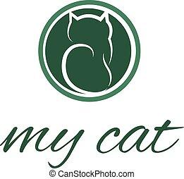ilustracja, od, abstrakcyjny, kot, icon., wektor