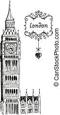 ilustracja, od, cielna ben, londyn