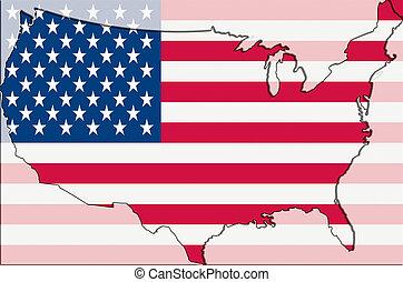 ilustracja, od, konturowany, i, stylizowany, mapa, od, usa, z, amerykańska bandera, w, tło