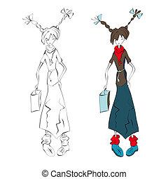 ilustracja, od, młoda kobieta, z, torba