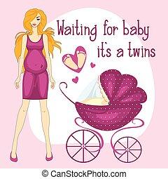 ilustracja, od, niejaki, brzemienne kobiety, usługiwanie, dla, niemowlęta, to, s, dwojaczki