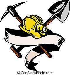 ilustracja, od, niejaki, bunkrow, hardhat, kapelusz, albo, łopata, i, pickax, z, woluta, odizolowany, na białym, robiony, retro, drzeworyt, styl