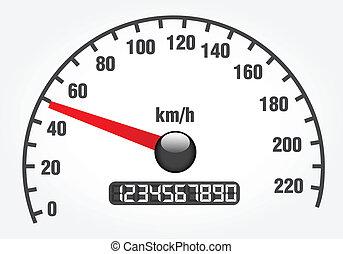 ilustracja, od, niejaki, szybkościomierz