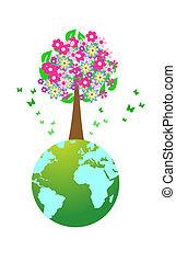 ilustracja, od, ogromny, drzewo, na, światowa kula