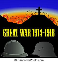 ilustracja, od, przedimek określony przed rzeczownikami, pierwszy, świat, wojna, (the, wielki, war)