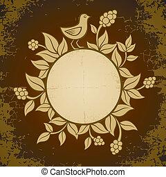 ilustracja, od, ptaszki, i, rośliny