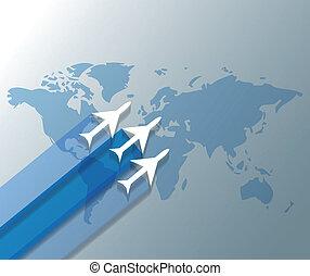 ilustracja, od, samoloty, na, światowa mapa