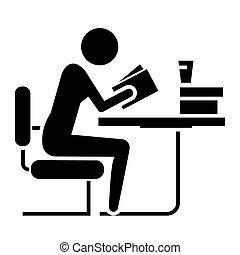 ilustracja, -, odizolowany, biblioteka, znak, wektor, czarne...