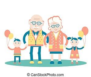 ilustracja, odizolowany, dziadkowie, rodzina, wektor, grandchildren., biały