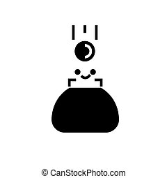 ilustracja, odizolowany, znak, portfel, wektor, czarne tło, ikona
