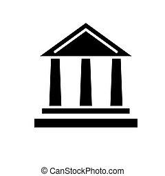ilustracja, odizolowany, znak, wektor, czarne tło, ikona, bank