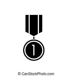 ilustracja, odizolowany, znak, wektor, czarne tło, ikona, medal