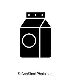 ilustracja, odizolowany, znak, wektor, czarne tło, ikona, mleczny