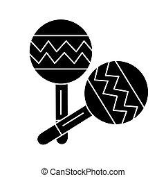 ilustracja, odizolowany, znak, wektor, czarne tło, maracas, ikona