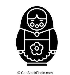 ilustracja, odizolowany, znak, wektor, czarne tło, matryoshka, ikona