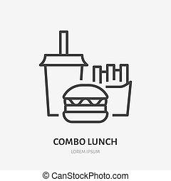ilustracja, płaski, restauracyjny jadłospis, soda, smaży, jadło, hamburger, znak, francuski, lunch, wektor, mocny, combo, kreska, kawiarnia, logo., icon., cienki