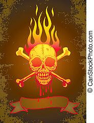 ilustracja, płomienie, czaszka