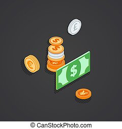 ilustracja, pieniądze, isometric, monety, nuta, bank