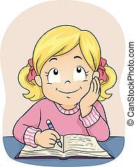 ilustracja, pisać, książka, dziewczyna, myśleć, koźlę
