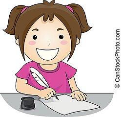 ilustracja, pisać, pióro, dziewczyna, lotka, koźlę