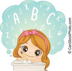 ilustracja, pisać, słówko, uczyć się, dziewczyna, koźlę