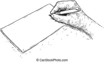 ilustracja, pisanie, papier, wektor, artystyczny, ręka, rysunek