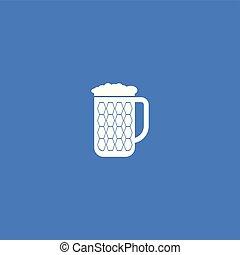 ilustracja, piwo, odizolowany, vector., ikona