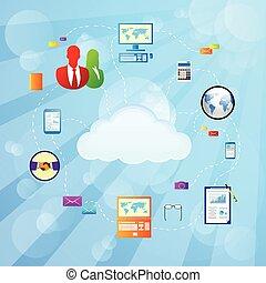 ilustracja, połączenie, wektor, internet, chmura, ikona