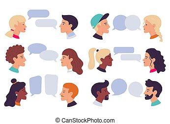 ilustracja, pogawędka, avatars, razem, bańki, wektor, rozmawianie, rozmowa, profil portrety, ludzie., komplet, para, dialog, rozmowa