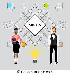 ilustracja, pojęcie, handlowy, powodzenie, ludzie