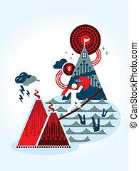 ilustracja, pojęcie, ryzyko, handlowy, nagroda