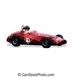 ilustracja, polygonal, wektor, retro, wóz, formułka, czerwony