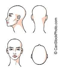 ilustracja, projektować, piękna twarz, kobieta, kontur, wektor