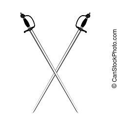ilustracja, przez, dwa, srebro, miecze, od, białe tło