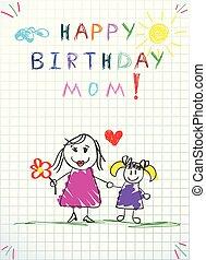 ilustracja, ręka, urodziny, mamusia, niemowlę, pociągnięty, szczęśliwy