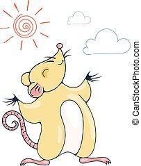 ilustracja, radosny, szczur, sun., pod, interpretacja