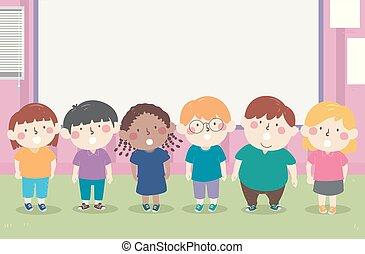 ilustracja, recitation, dzieciaki, chóralny, klasa