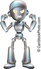 ilustracja, robot, gniewny