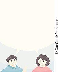 ilustracja, rodzice, mowa, dziewczyna, bańka, człowiek