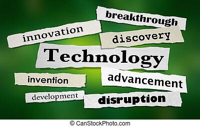 ilustracja, rozerwanie, inwencja, innowacja, nagłówki, technologia, 3d